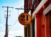 Twenty One Bar & Grill sign
