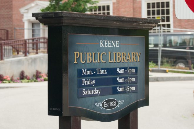 Keene Public Library sign