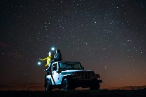 Jeep under the stars