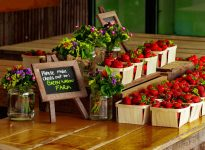 Green Wagon flowers and strawberries