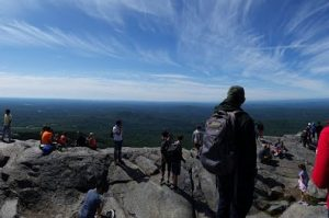 Mount Monadnock view and hikers